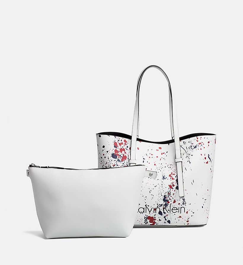 CALVINKLEIN Medium Splatter Tote Bag - BLACK/SPLASH - CALVIN KLEIN WOMEN - detail image 4