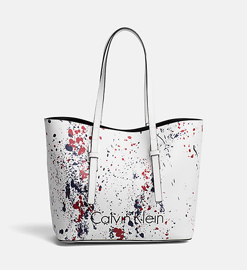 CALVINKLEIN Medium Splatter Tote Bag - CK WHITE/SPLASH - CALVIN KLEIN NEW IN - main image