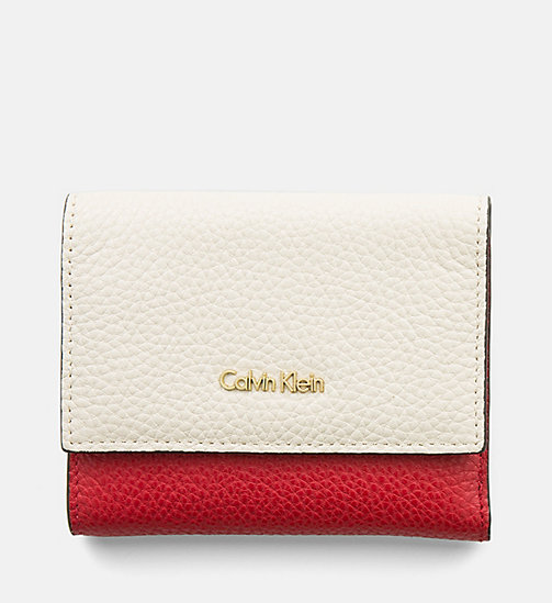 CALVINKLEIN Leather Trifold Wallet - CEMENT / SCARLET - CALVIN KLEIN GIFTS - main image