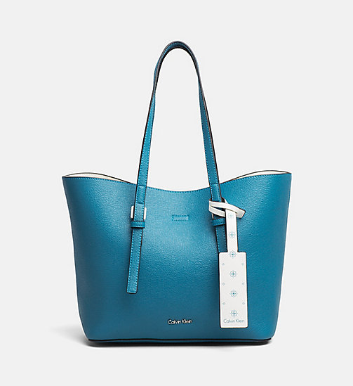 CALVINKLEIN Medium Tote Bag - ENAMEL BLUE/CK WHITE - CALVIN KLEIN NEW IN - main image
