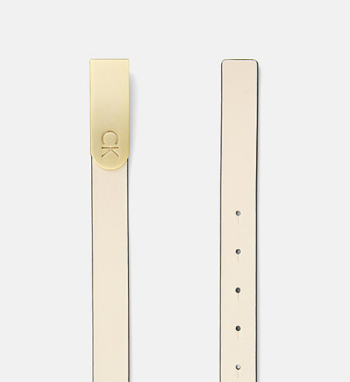 CALVINKLEIN Curved Plaque Buckle Leather Belt - CEMENT - CALVIN KLEIN SHOES & ACCESORIES - detail image 1