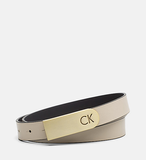 CALVINKLEIN Curved Plaque Buckle Leather Belt - CEMENT - CALVIN KLEIN SHOES & ACCESORIES - main image