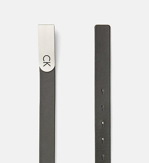 CALVINKLEIN Curved Plaque Buckle Leather Belt - BLACK - CALVIN KLEIN BELTS - detail image 1