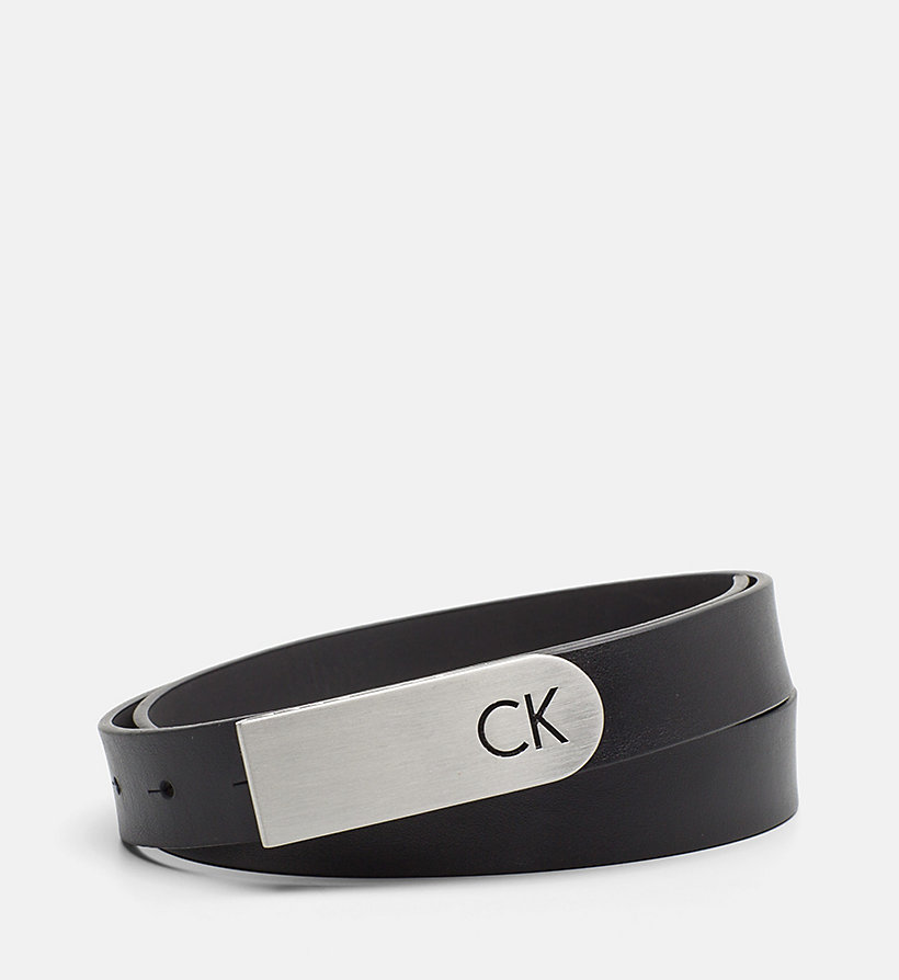 CALVINKLEIN Curved Plaque Buckle Leather Belt - CEMENT - CALVIN KLEIN WOMEN - main image