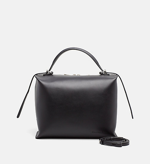 CALVIN KLEIN JEANS Leather Box Satchel - BLACK -  SATCHELS - main image
