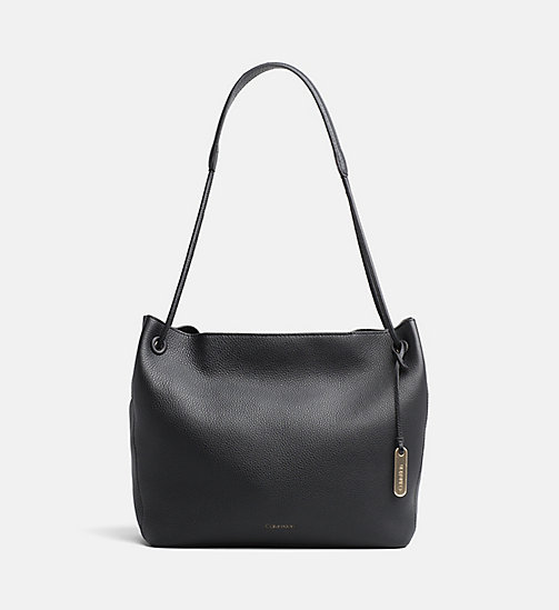 CALVIN KLEIN Leather Hobo - BLACK - CALVIN KLEIN HOBO BAGS - main image