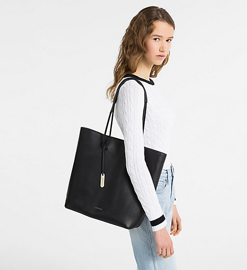 CALVINKLEIN Leather Tote Bag - BLACK - CALVIN KLEIN NEW IN - detail image 1