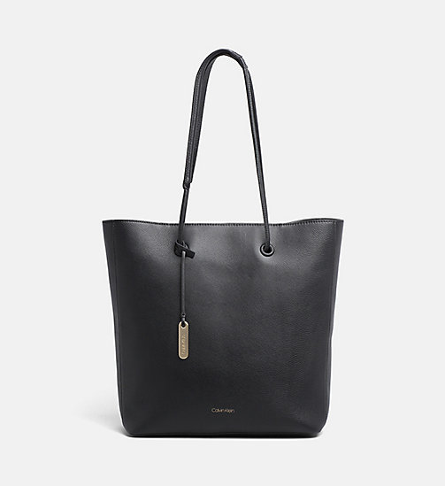 CALVINKLEIN Leather Tote Bag - BLACK - CALVIN KLEIN SHOES & ACCESORIES - main image