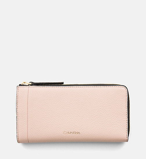 CALVINKLEIN Large Leather Zip-Around Wallet - NUDE - CALVIN KLEIN WALLETS & SMALL ACCESSORIES - main image