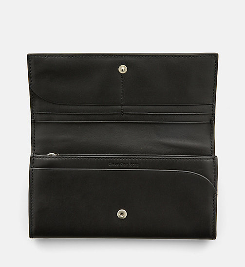 CALVIN KLEIN JEANS Leather Flap Wallet - BLACK - CALVIN KLEIN JEANS WALLETS & SMALL ACCESSORIES - detail image 1