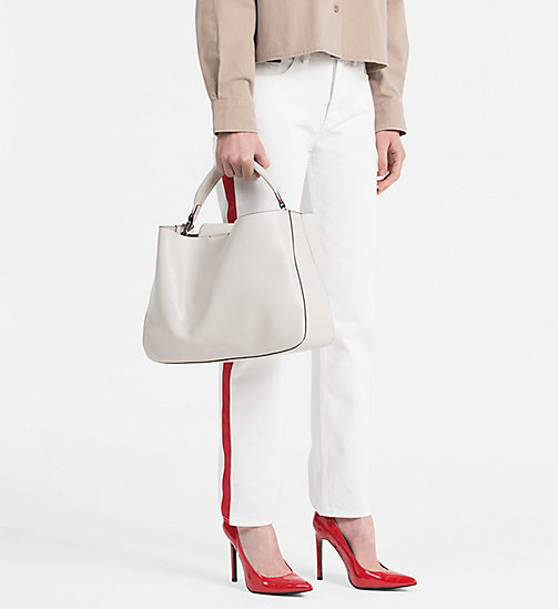 CALVINKLEIN Large Leather Tote Bag - CEMENT - CALVIN KLEIN SHOES & ACCESSORIES - detail image 1