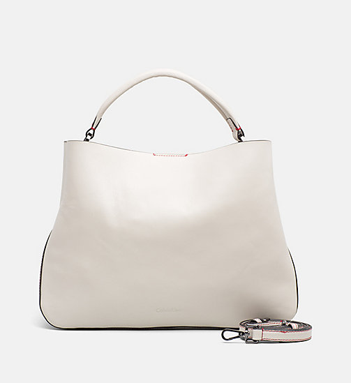 CALVINKLEIN Large Leather Tote Bag - CEMENT - CALVIN KLEIN BAGS & ACCESSORIES - main image
