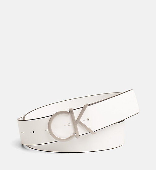 CALVINKLEIN Leather Logo Belt - WHITE - CALVIN KLEIN BELTS - main image