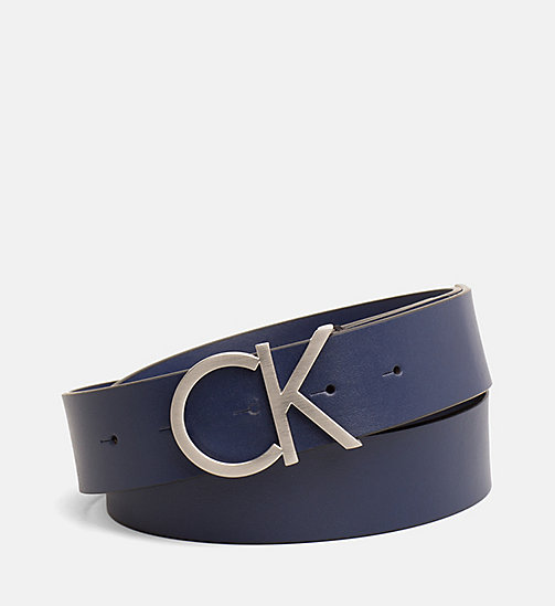 CALVINKLEIN Leather Logo Belt - NAVY - CALVIN KLEIN BELTS - main image