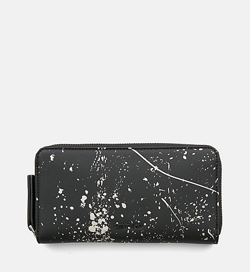 CALVIN KLEIN Large Zip-Around Wallet - BLACK SPLASH PRINT - CALVIN KLEIN WOMEN - main image