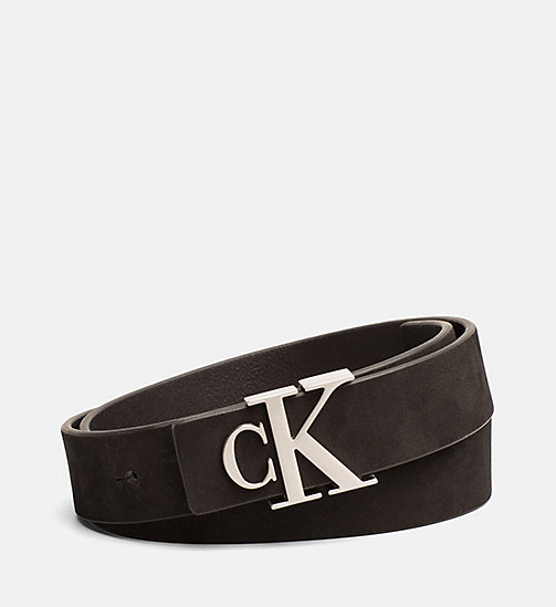 CALVIN KLEIN JEANS Leather Logo Belt - BLACK - CALVIN KLEIN JEANS LOGO SHOP - main image
