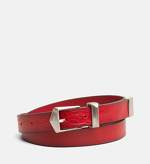 CALVIN KLEIN JEANS Leather Belt - TOMATO - CALVIN KLEIN JEANS SHOES & ACCESORIES - main image