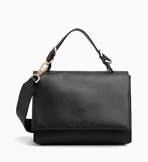 CALVINKLEIN Small Leather Satchel - BLACK - CALVIN KLEIN CROSSOVER BAGS - main image
