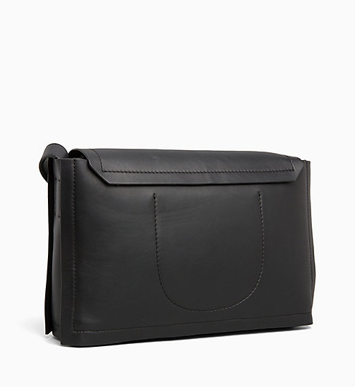 CALVIN KLEIN Leather Satchel - BLACK - CALVIN KLEIN HOBO BAGS - detail image 1