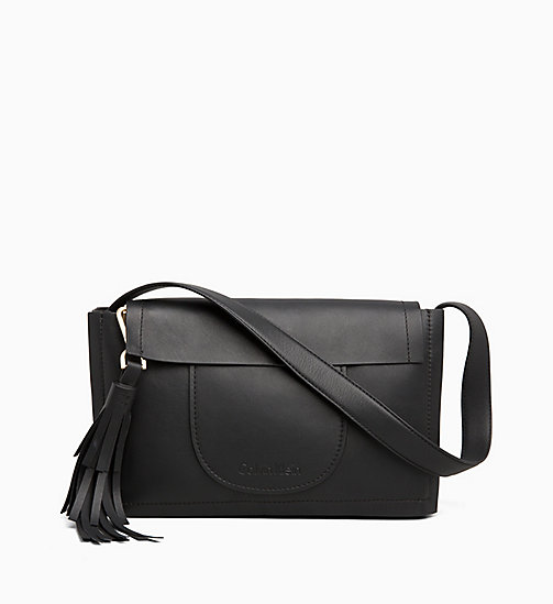 CALVINKLEIN Leather Satchel - BLACK - CALVIN KLEIN HOBO BAGS - main image