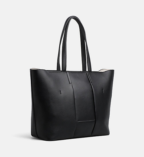 CALVINKLEIN Large Leather Tote Bag - BLACK - CALVIN KLEIN NEW IN - detail image 1