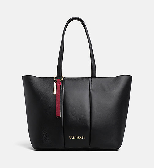 CALVINKLEIN Large Leather Tote Bag - BLACK - CALVIN KLEIN NEW IN - main image