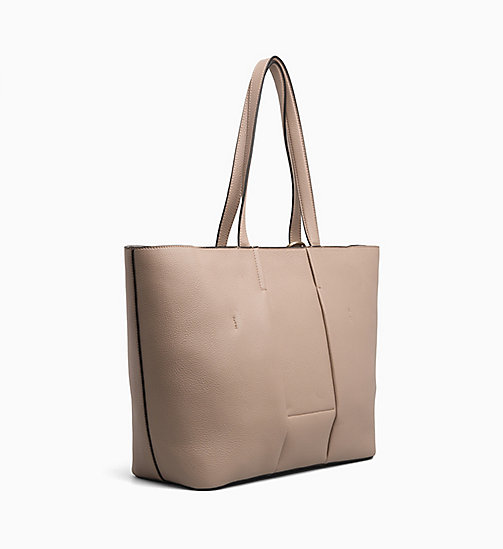 CALVIN KLEIN Large Leather Tote Bag - TOBACCO - CALVIN KLEIN BAGS - detail image 1