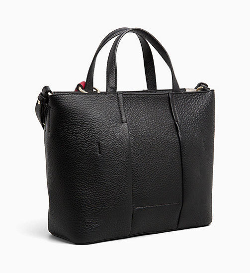 CALVINKLEIN Medium Leather Tote Bag - BLACK - CALVIN KLEIN BAGS - detail image 1