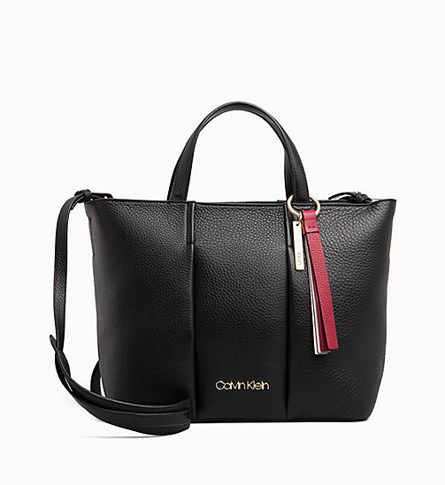 CALVINKLEIN Medium Leather Tote Bag - BLACK - CALVIN KLEIN TOTE BAGS - main image
