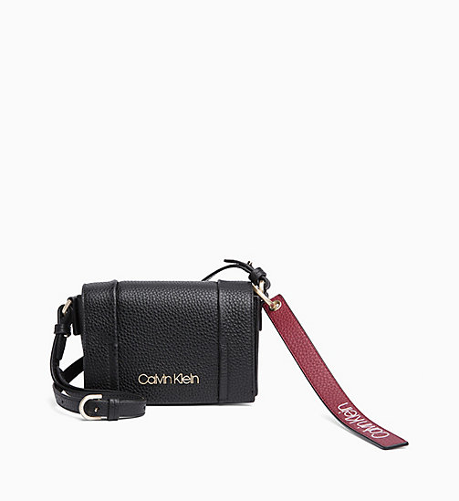 CALVINKLEIN Small Leather Flap Cross Body Bag - BLACK - CALVIN KLEIN NEW IN - main image