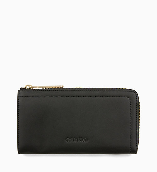 CALVINKLEIN Large Leather Zip-Around Purse - BLACK - CALVIN KLEIN WALLETS & SMALL ACCESSORIES - main image