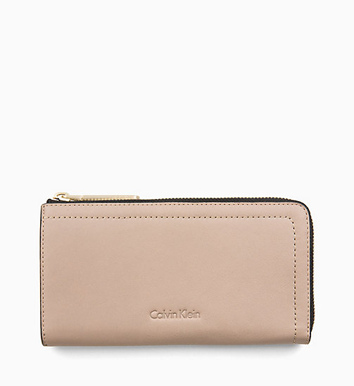 CALVINKLEIN Large Leather Zip-Around Purse - TOBACCO - CALVIN KLEIN WALLETS & SMALL ACCESSORIES - main image