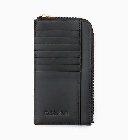 CALVIN KLEIN Leather Zip-Around Pouch - BLACK - CALVIN KLEIN WOMEN - main image