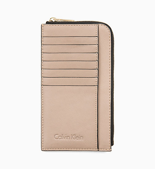 CALVIN KLEIN Leather Zip-Around Pouch - TOBACCO - CALVIN KLEIN PERFUMES & ACCESSORIES - main image
