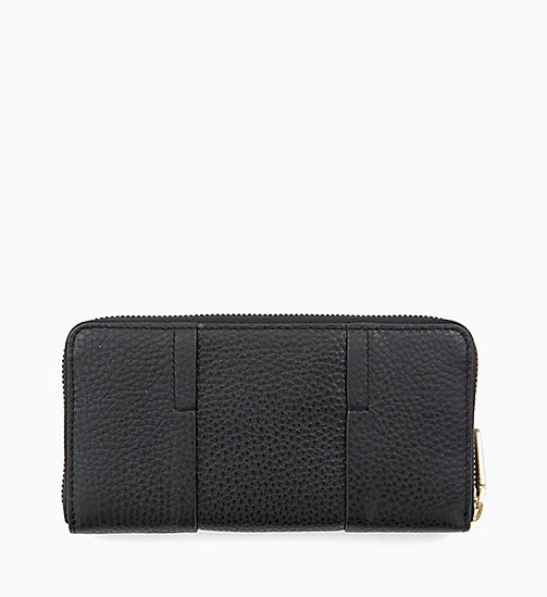 CALVINKLEIN Large Leather Zip-Around Purse - BLACK - CALVIN KLEIN WALLETS & SMALL ACCESSORIES - detail image 1