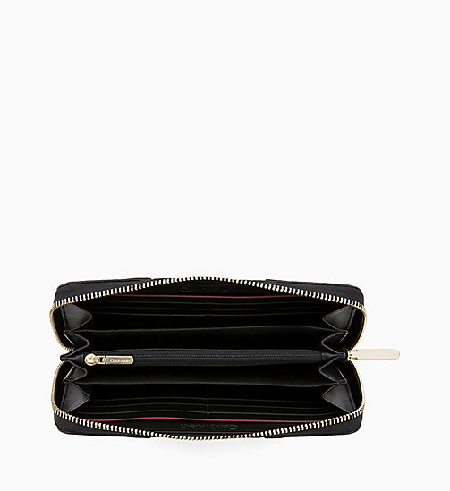 CALVIN KLEIN Large Leather Zip-Around Wallet - BLACK - CALVIN KLEIN WOMEN - detail image 1