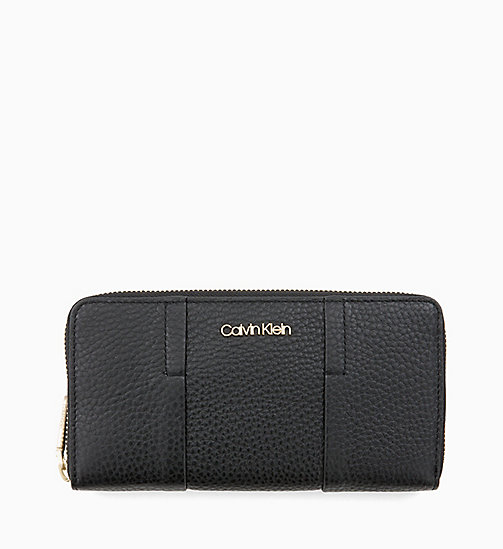 CALVINKLEIN Large Leather Zip-Around Wallet - BLACK - CALVIN KLEIN PERFUMES & ACCESSORIES - main image
