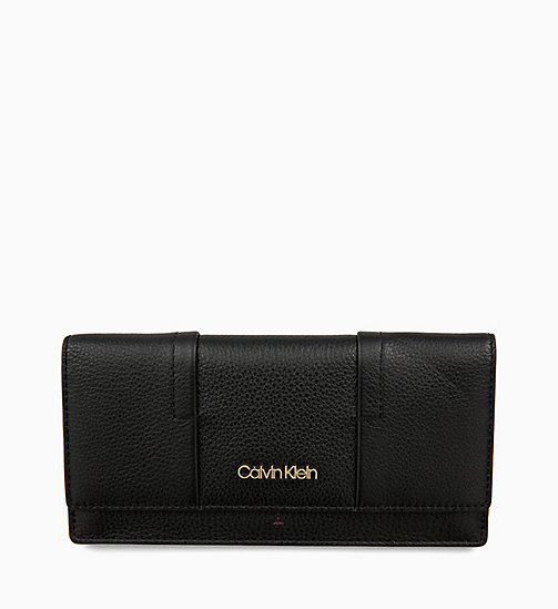 CALVIN KLEIN Trifold Leather Wallet - BLACK - CALVIN KLEIN MEN - main image