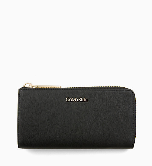 CALVINKLEIN Large Zip-Around Purse - BLACK - CALVIN KLEIN NEW IN - main image