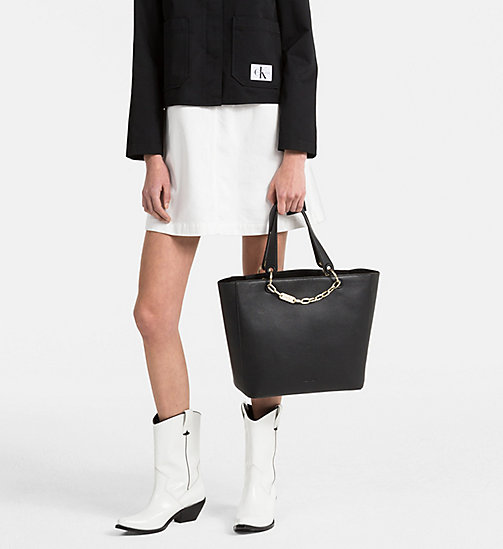 CALVINKLEIN Leather Tote Bag - BLACK - CALVIN KLEIN SHOES & ACCESORIES - detail image 1