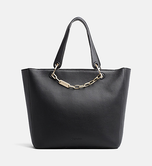 CALVINKLEIN Leather Tote Bag - BLACK - CALVIN KLEIN NEW IN - main image