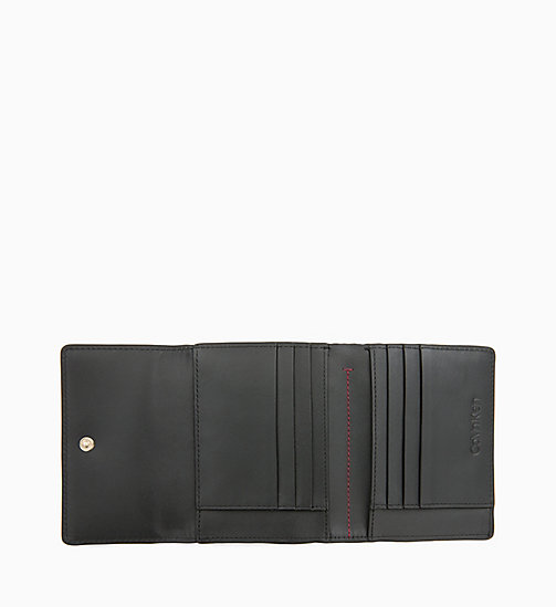 CALVIN KLEIN Small Trifold Leather Wallet - BLACK - CALVIN KLEIN WOMEN - detail image 1
