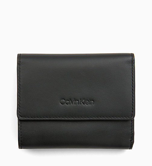 CALVIN KLEIN Small Trifold Leather Wallet - BLACK - CALVIN KLEIN WOMEN - main image