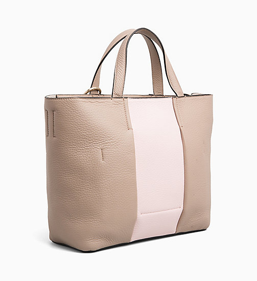 CALVIN KLEIN Medium Leather Tote Bag - TOBACCO/ PETAL - CALVIN KLEIN BAGS - detail image 1