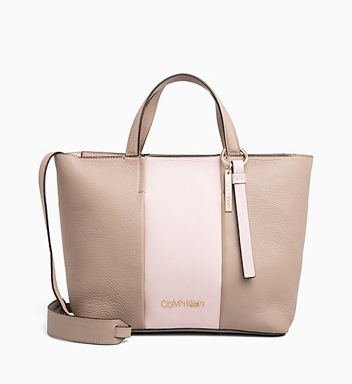 CALVIN KLEIN Medium Leather Tote Bag - TOBACCO/ PETAL - CALVIN KLEIN BAGS - main image