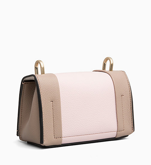 CALVIN KLEIN Small Leather Flap Cross Body Bag - TOBACCO/ PETAL - CALVIN KLEIN BAGS - detail image 1