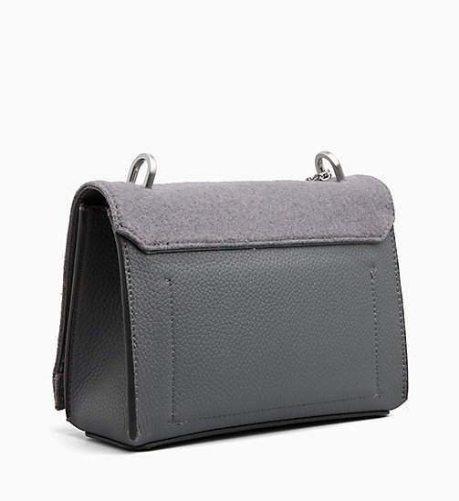CALVINKLEIN Medium Wool Flap Cross Body Bag - STEEL GREYSTONE - CALVIN KLEIN CROSSOVER BAGS - detail image 1