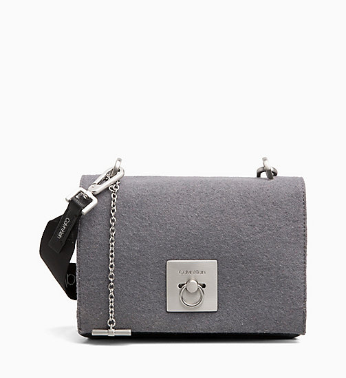 CALVIN KLEIN Medium Wool Flap Cross Body Bag - STEEL GREYSTONE - CALVIN KLEIN BAGS - main image