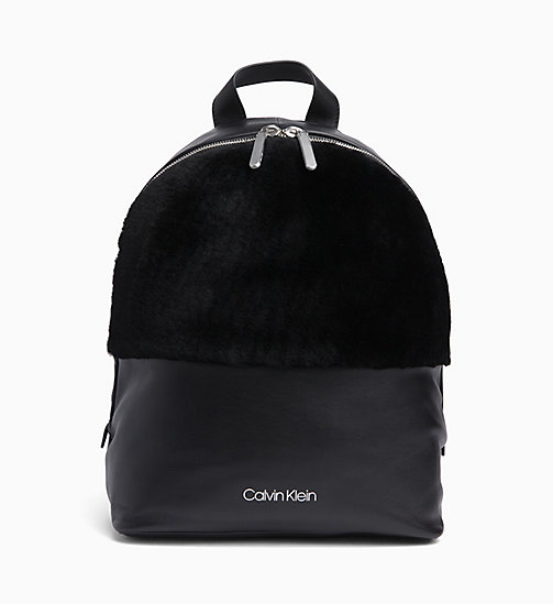 CALVIN KLEIN Shearling Leather Backpack - BLACK - CALVIN KLEIN BACKPACKS - main image