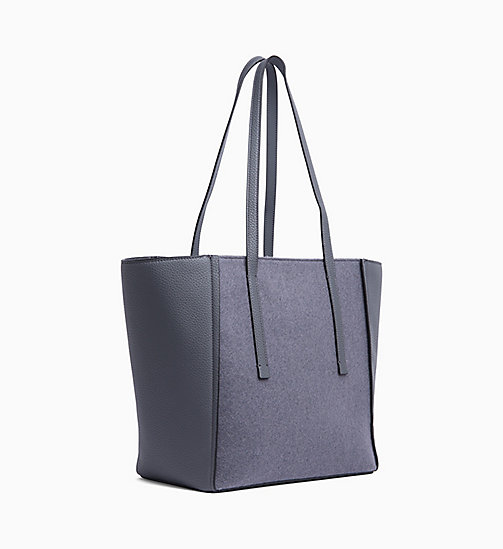 CALVIN KLEIN Medium Wool Panel Tote Bag - STEEL GREYSTONE - CALVIN KLEIN BAGS - detail image 1